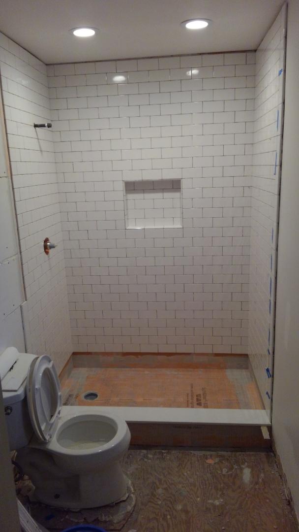 Marydel, MD - Custom shower with hand glazed subway tiles