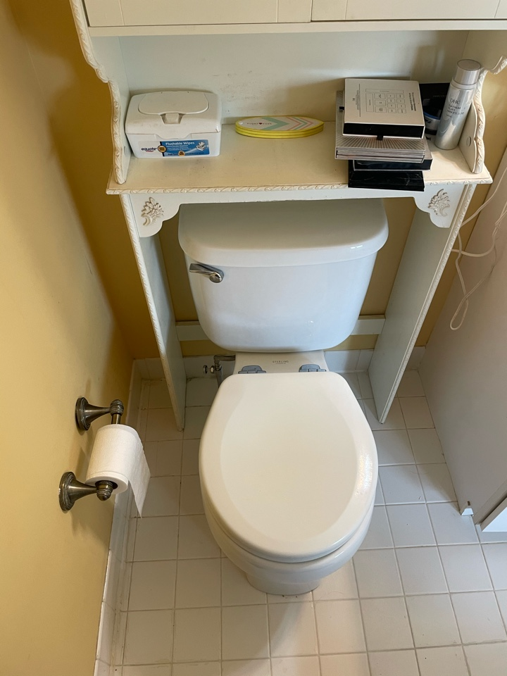 Harleysville, PA - Lifted toilet and soldered in new shut off valve. Ambler plumber