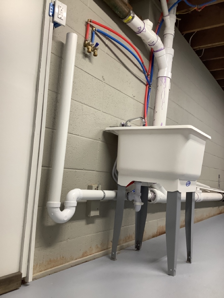 Lansdale, PA - Pipe in new washing machine drain line. Hook up utility sink drainage. Lansdale plumber. PlumbPro Services.