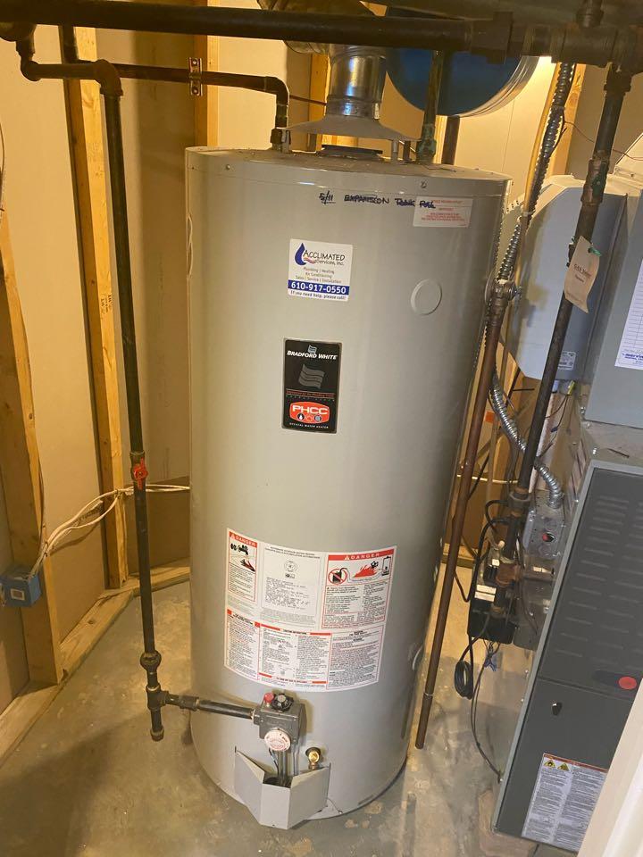 Blue Bell, PA - Replacing old tank heater ambler plumber
