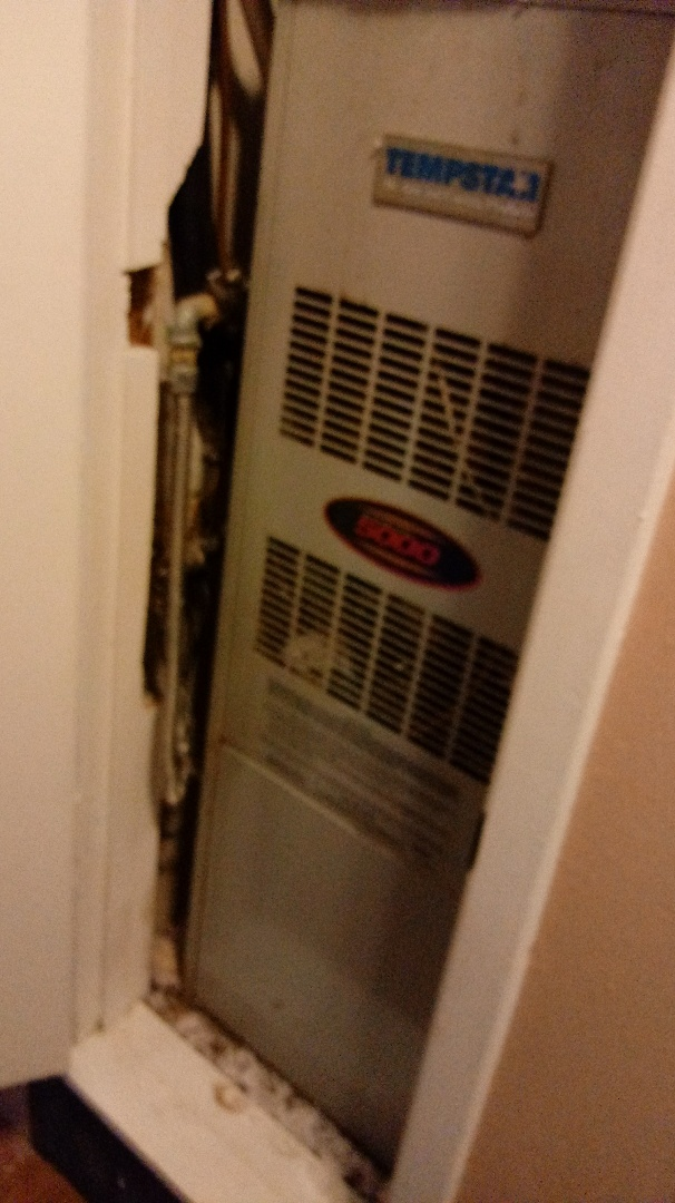 Pilot Point, TX - Cleared condensate line on upflow unit in closet