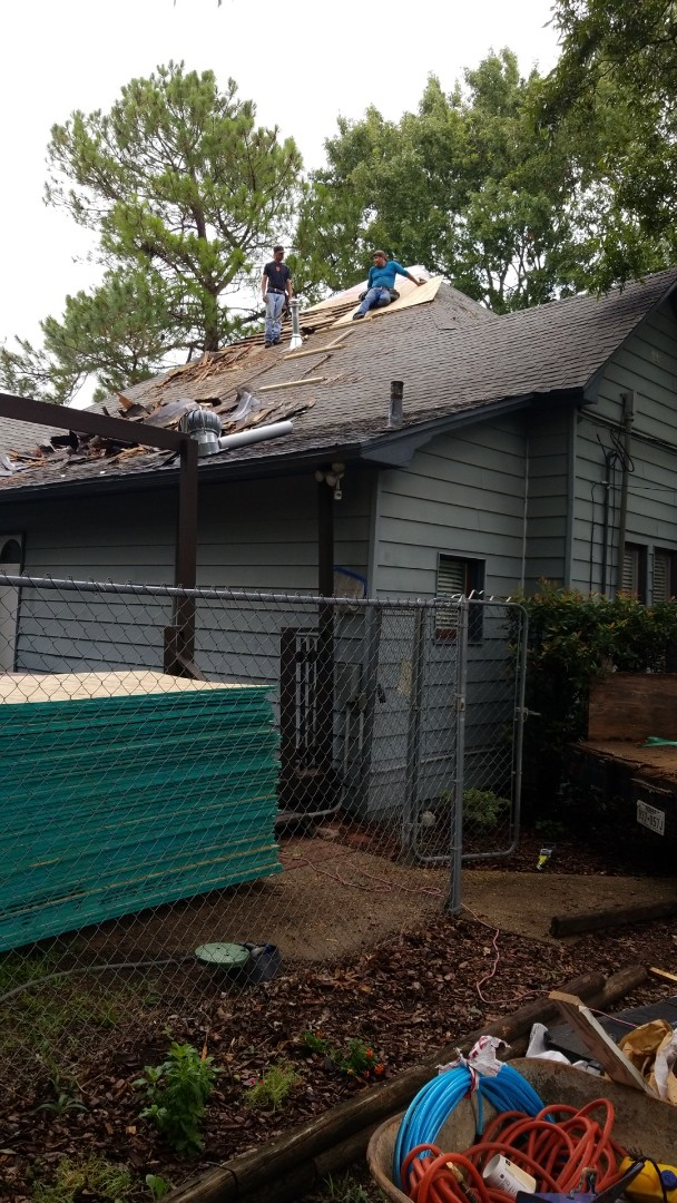 Cleburne, TX - Reroofing and re-decking the roof. Having to remove old wood shakes