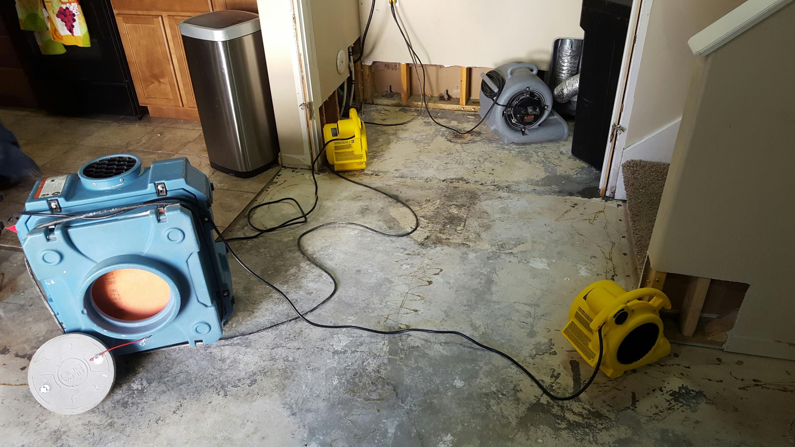North Salt Lake, UT - Setting up equipment after pressure washing and applying antimicrobial spray. Last step of mitigating a sewer backup.