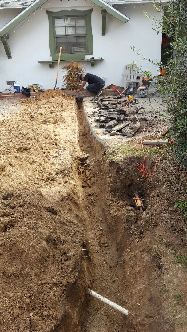 Riverside, CA - Replacing the main water service to a house from galvanized to sch 80 pvc