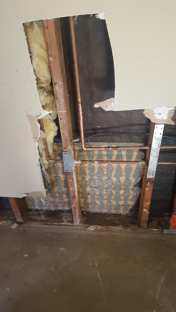 Riverside, CA - Repairing in wall leak and providing emergency dryout service