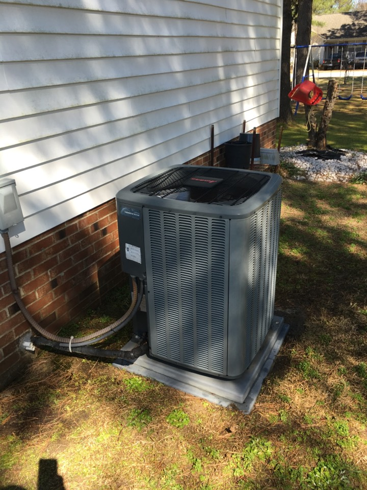 Complete ac maintenance of a Amana heat pump system. Recommend air cleaner, and surge protector.