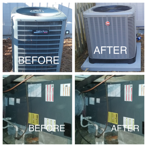 Pinehurst, NC - After we made a service vist we determined that the system was badly damaged and the client was either faced with a major repair on a system that no longer carried a warranty or to discuss replacing the system to avoid the current problems and the utility overpayment.  During the winter a heat pump that is not working correctly can be very expensive to operate since it starts using the heat strips as the primary source of heat which is the most expensive way to heat a home.  After the replacement meeting the client elected to have the existing Amana split heat pump replaced with a new high efficiency RHEEM heat pump split system.  As the owner of 72 Degrees I constantly monator the progress and quality of the replacement.  After see the before and after pictures of the replacement, I couldn't be more proud of my installation team.  We want all of our clients to experience many years of trouble free hating and air conditioning.