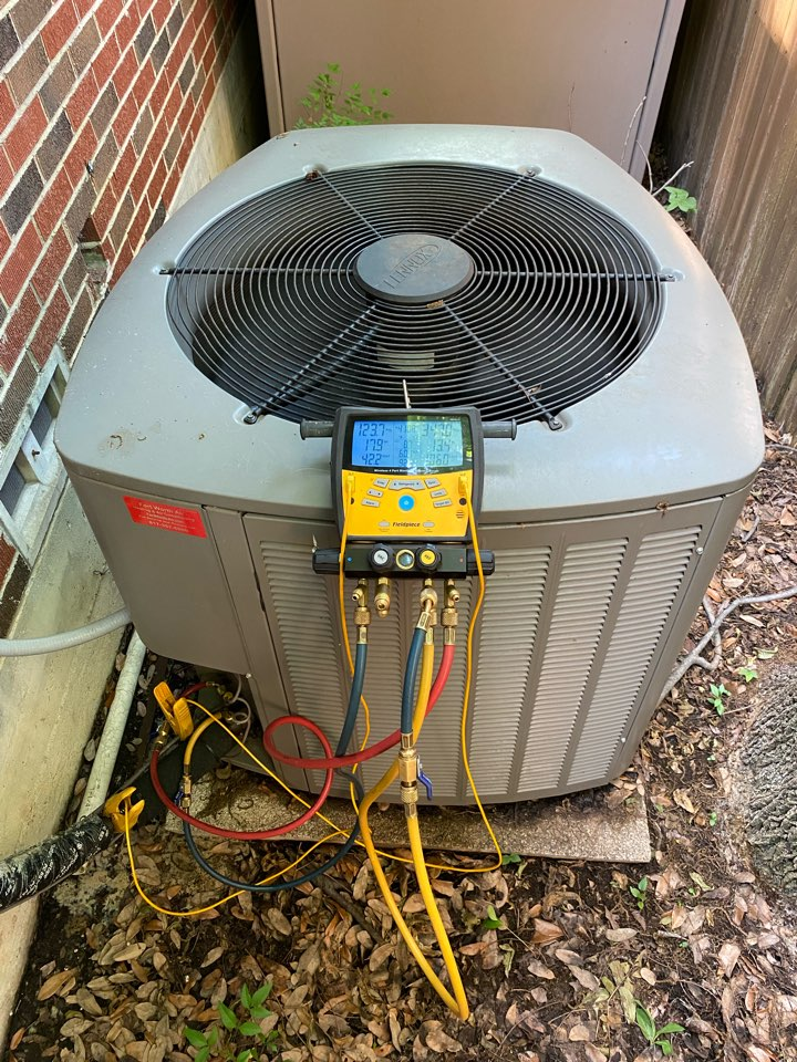 Fort Worth, TX - AC tuneup spring maintenance service on a Lennox air-conditioning system in the Arlington Heights area of Fort Worth
