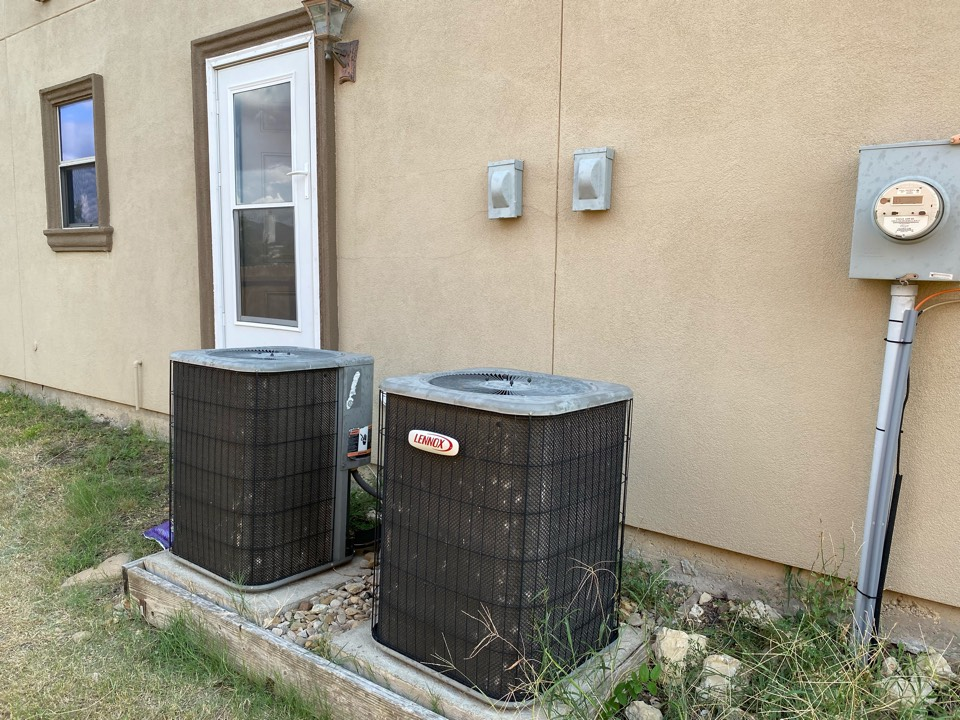 Fort Worth, TX - Heating and Air Conditioning Repair service Contractor serving Lake country Estates in Fort Worth Texas working on a pair of LENNOX air conditioners had to replace the condenser fan motor add a little bit of refrigerant clean out the filters Just  some preventative maintenance work