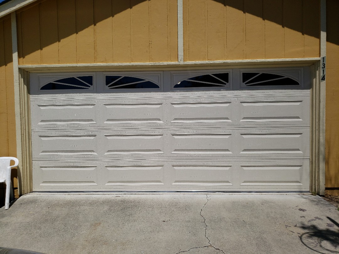 San Jose, CA - Garage door broken. Installed new Amarr garage door and Liftmaster WLED