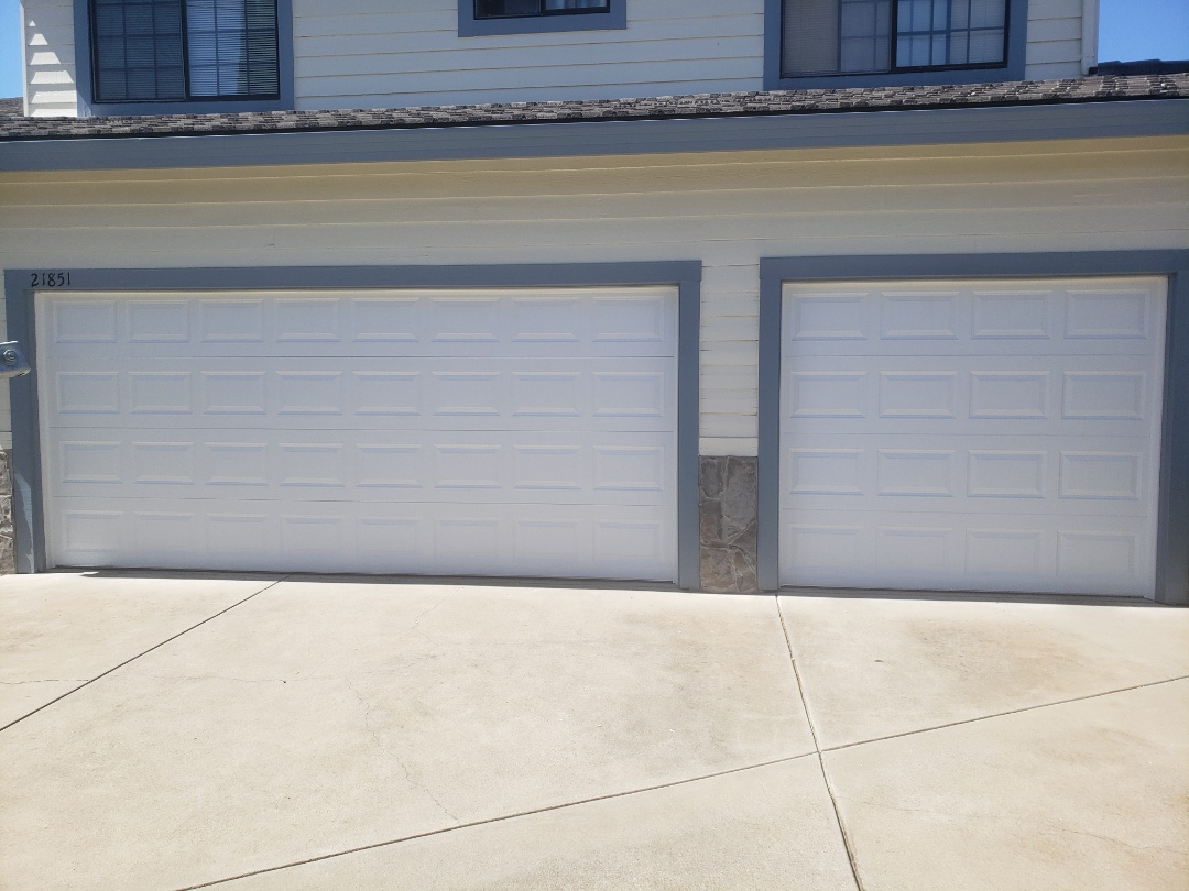 Cupertino, CA - Install new garage doors. Amarr stratford 3000 16x7 and 8x7 Liftmaster WLED