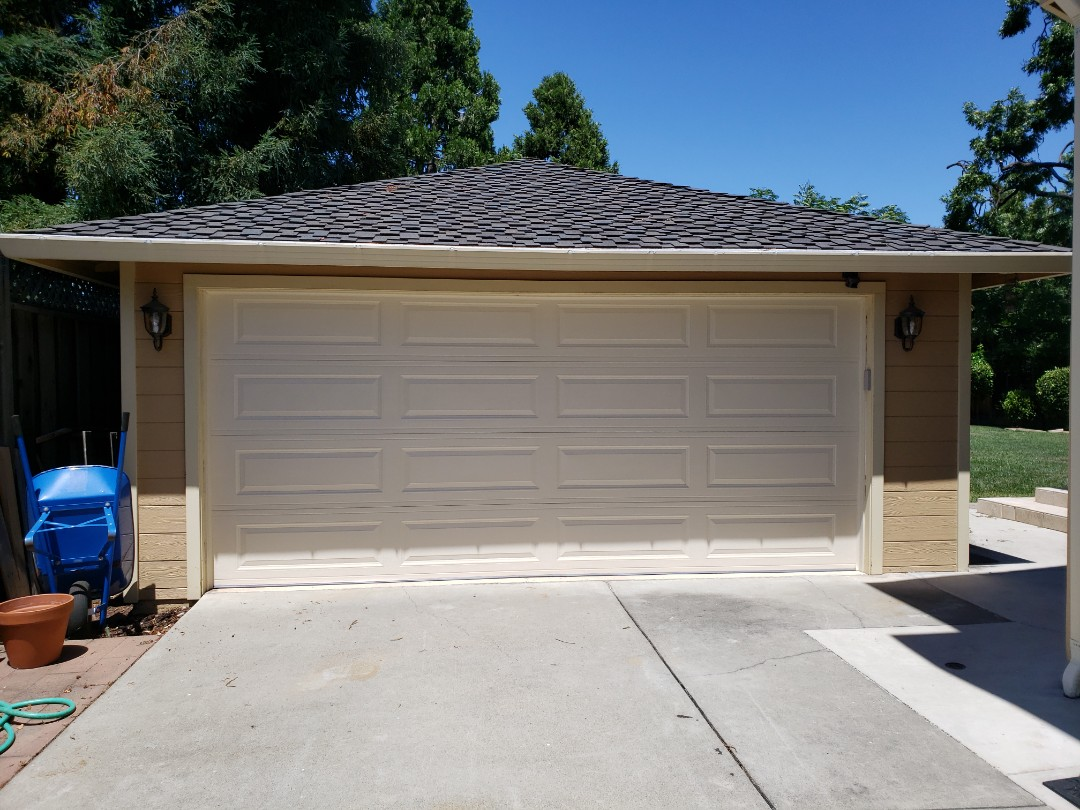 Install new garage door. 16x7 Amarr Stratford 3000. Liftmaster WLED