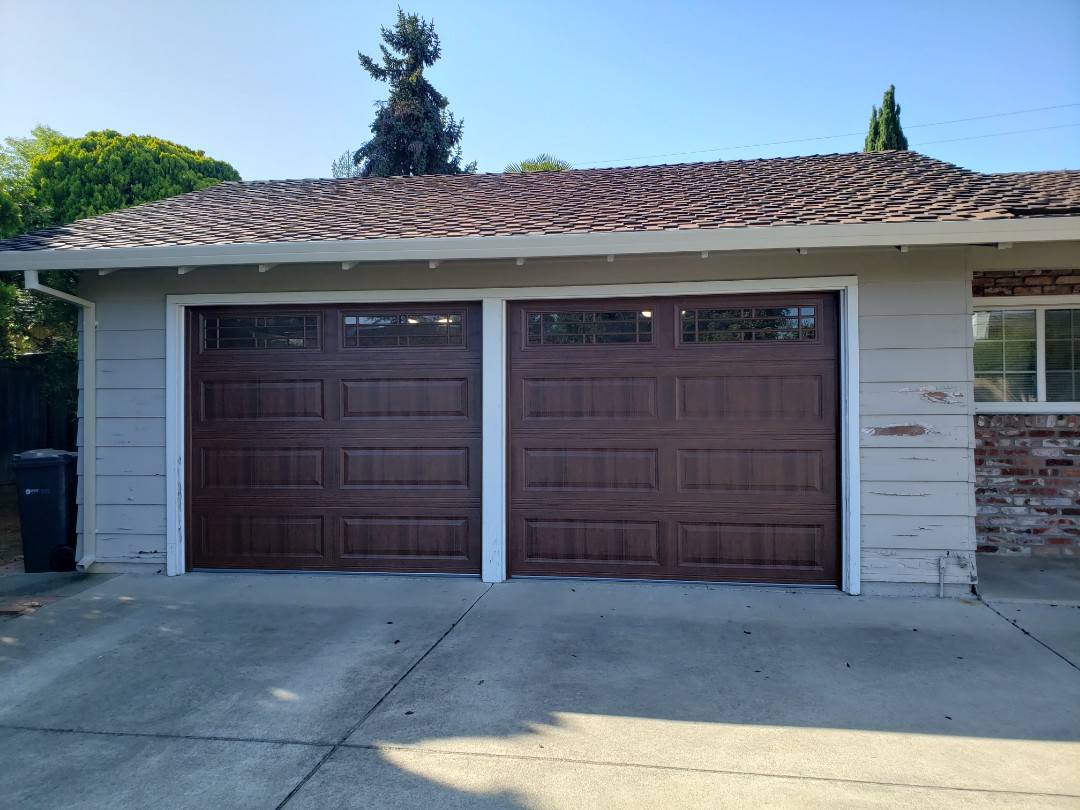Saratoga, CA - Install 2 new garage doors. Two 8 x 7 Amarr Stratford 3000 walnut Liftmaster WLED with back up battery