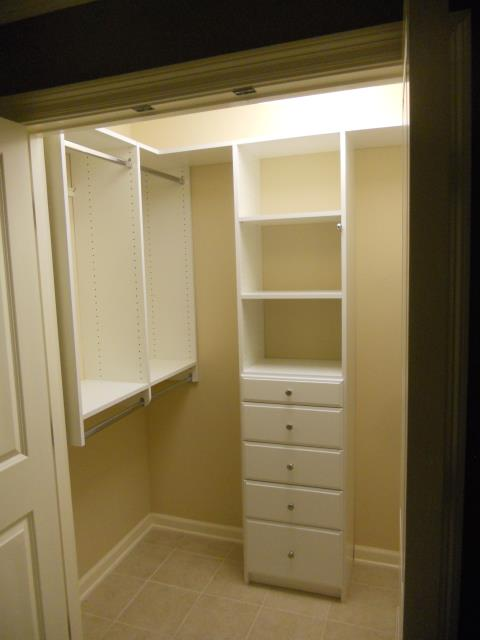 Beautiful home with small closets.  Alpha Closets designed by adding drawers with shelves above, double hanging, long hanging for dresses and robes, short hanging to provide closet shelves