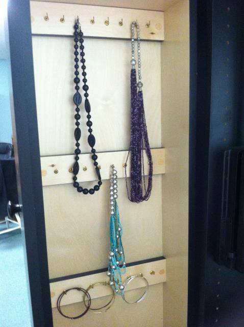 Jewelry pullout for clients with necklaces and bracelets to organize but limited linear feet.