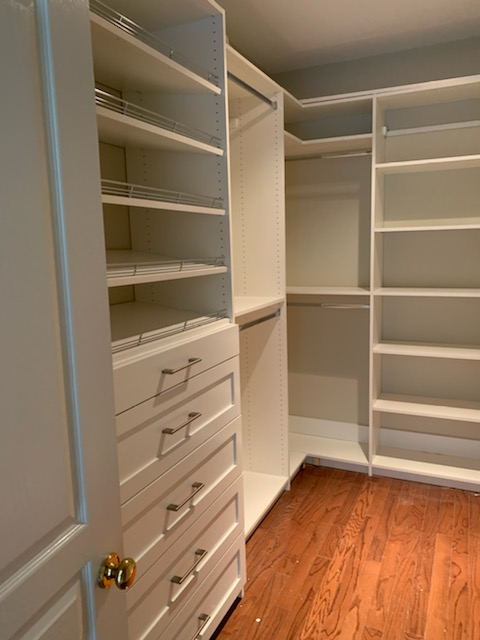 Installation of Custom Closets throughout the home, including: Bedroom Closets, Laundry Room, Linen Closets and Master Closets.