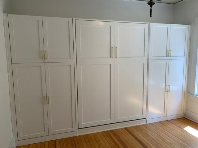 Fabrication and Installation of a Custom Murphy Bed with Cabinets and Office.