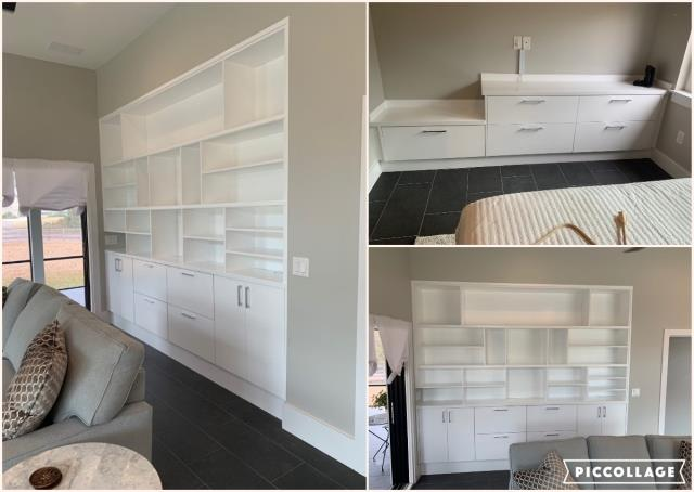 Milton, FL - Designed, Fabricated and Installed Custom Storage in living room and in bedroom.