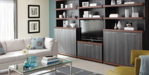 Custom cabinetry gives you a place to store everything.