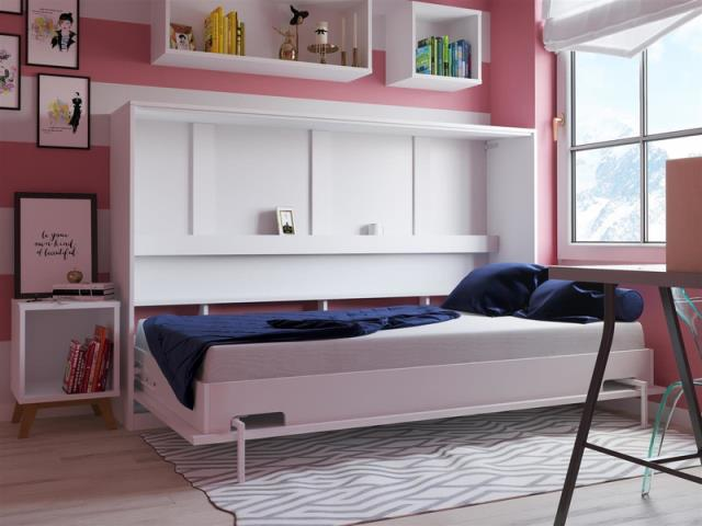 You can add a bookshelf, closet or cabinetry to the bed and get extra storage space.