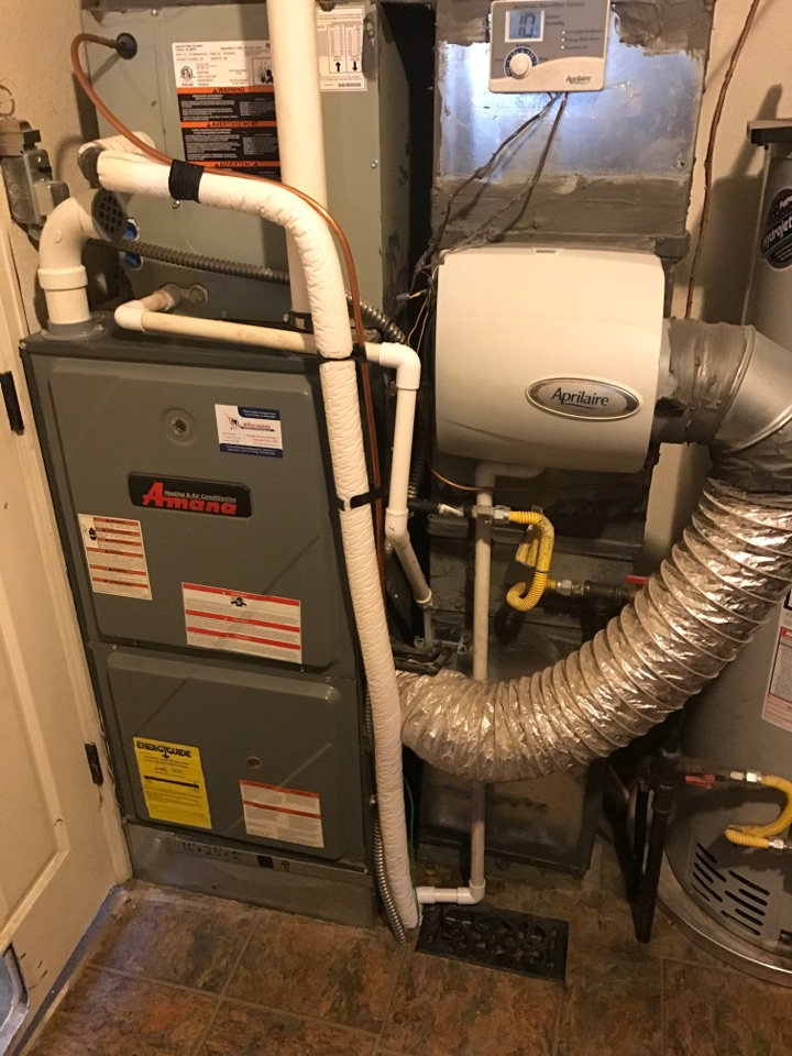 Evans, CO - Amana furnace service call. Clean and check. Flame sensor rectification. Filter change.