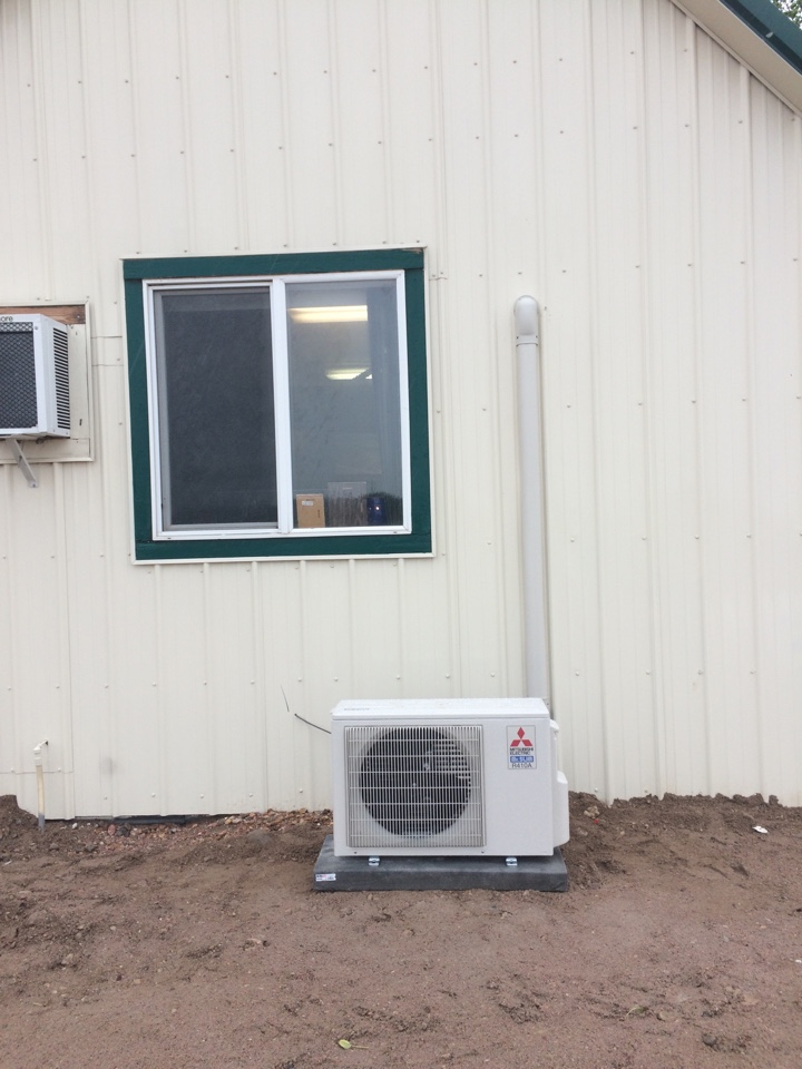 Ault, CO - Mitsubishi ductless air conditioner for office space.
