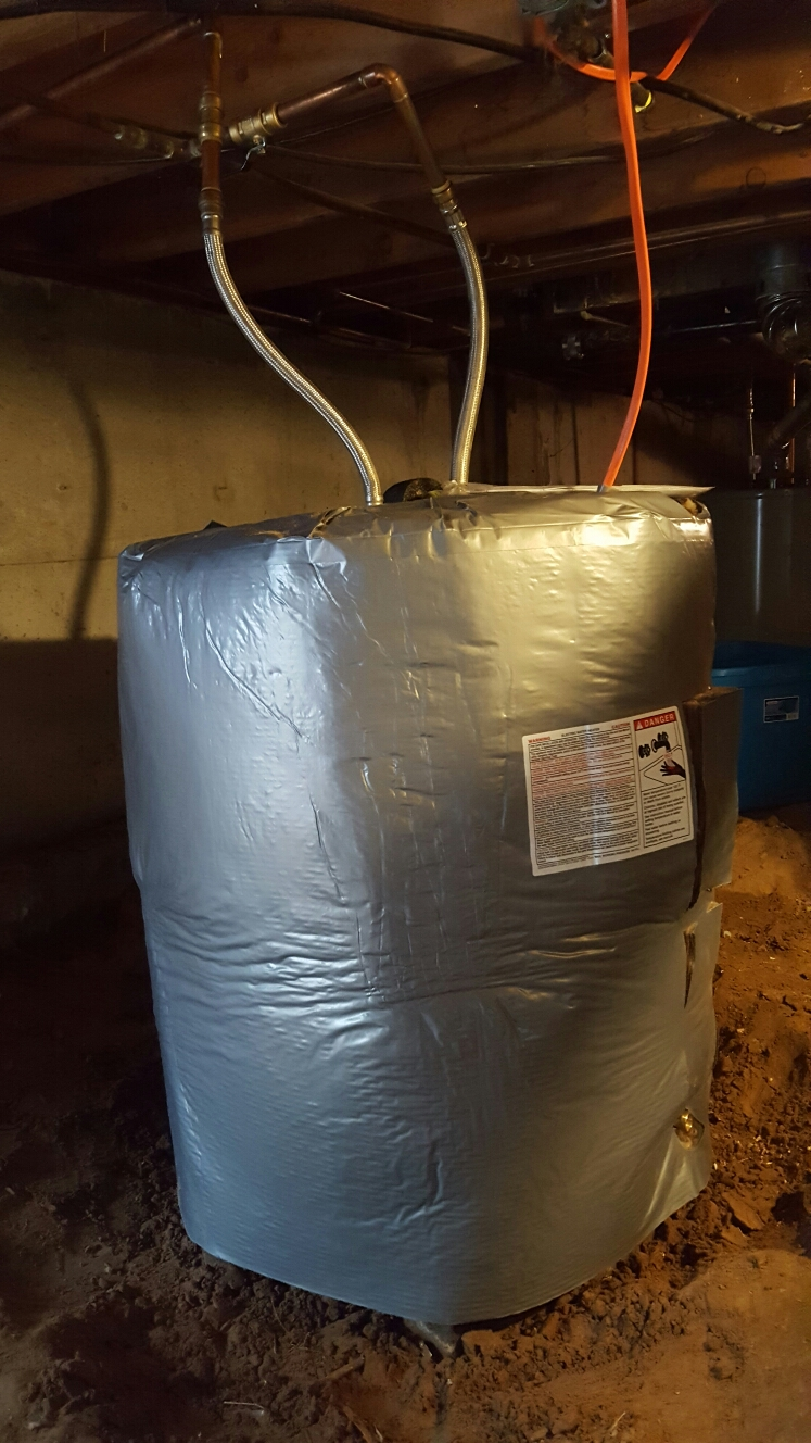 Windsor, CO - Rheam electric water heater crawlspace install