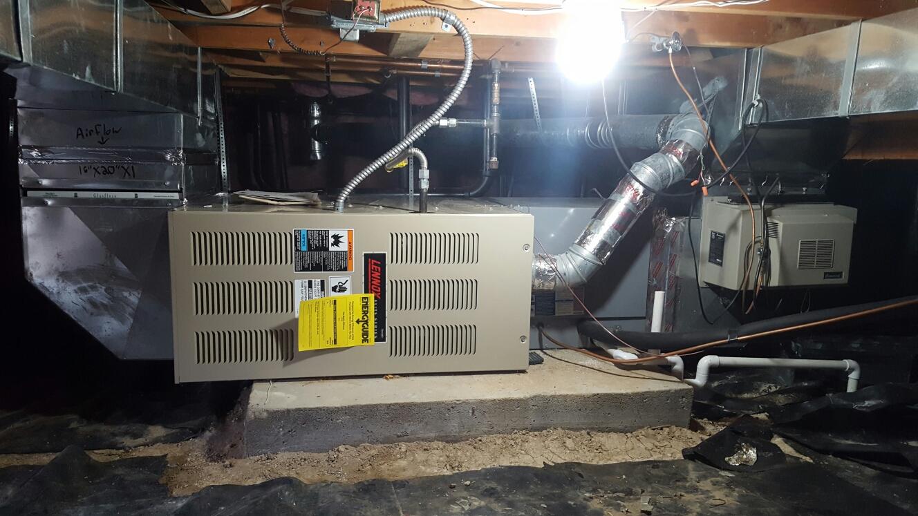 Co replace lennox 80 percent efficient furnace crawlspace loveland