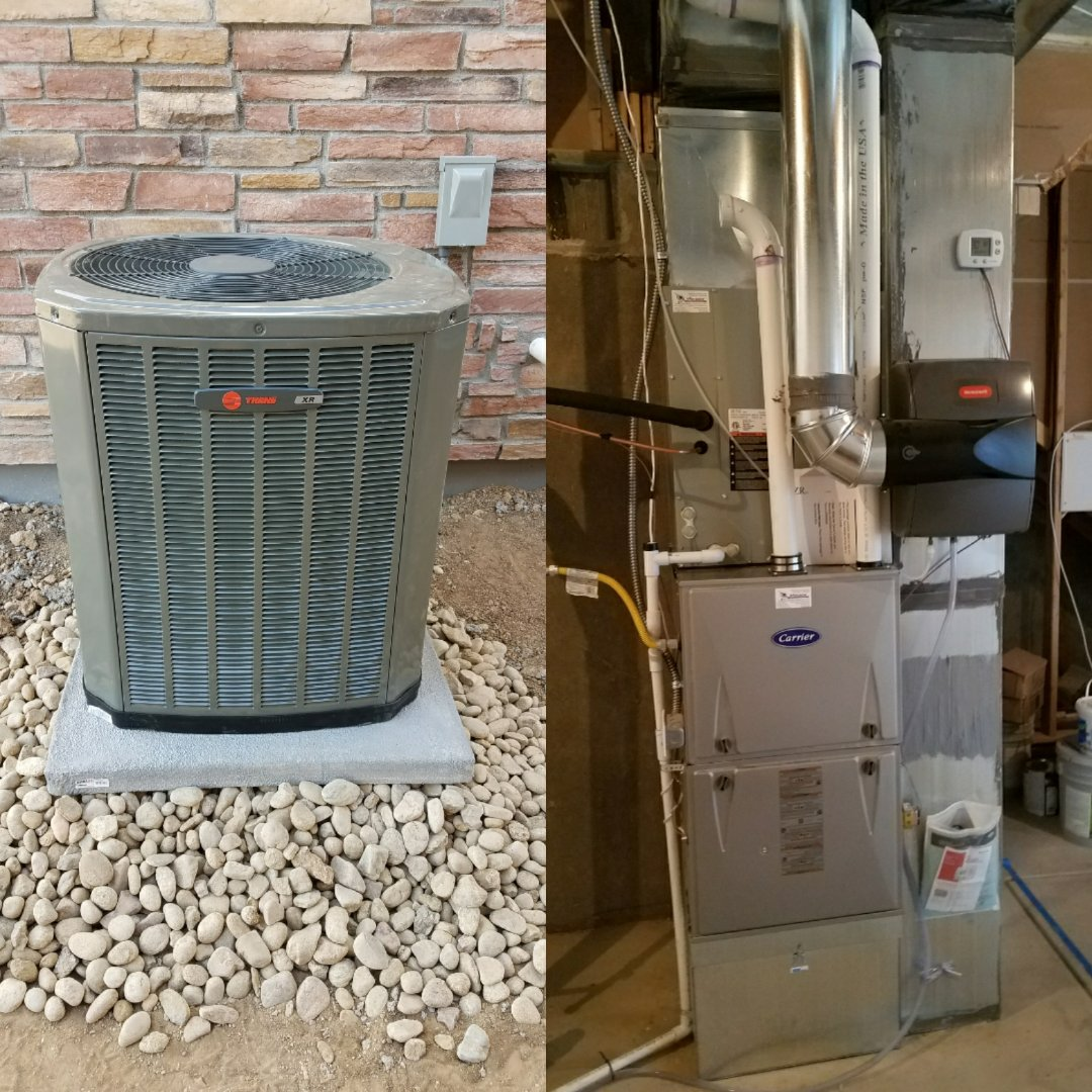 Windsor, CO - Trane 16 seer AC install Windsor unfinished basement