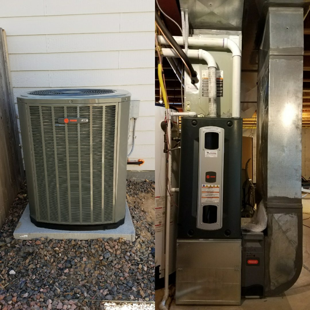 Evans, CO - Trane S9V2 2 stage variable speed furnace and AC install Evans