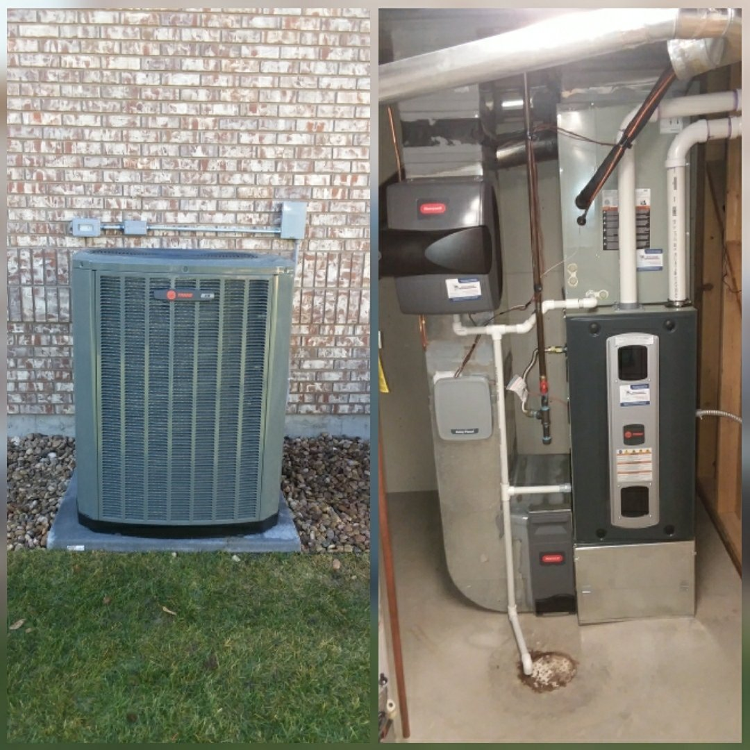 Eaton, CO -  install Trane 96% efficient two-stage variable speed furnace and Trane 2-stage AC and Honeywell humidifier in Eaton