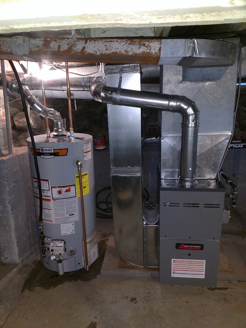 Yale, MI - Install new 80,000btu 80% Amana furnace with hot water tank