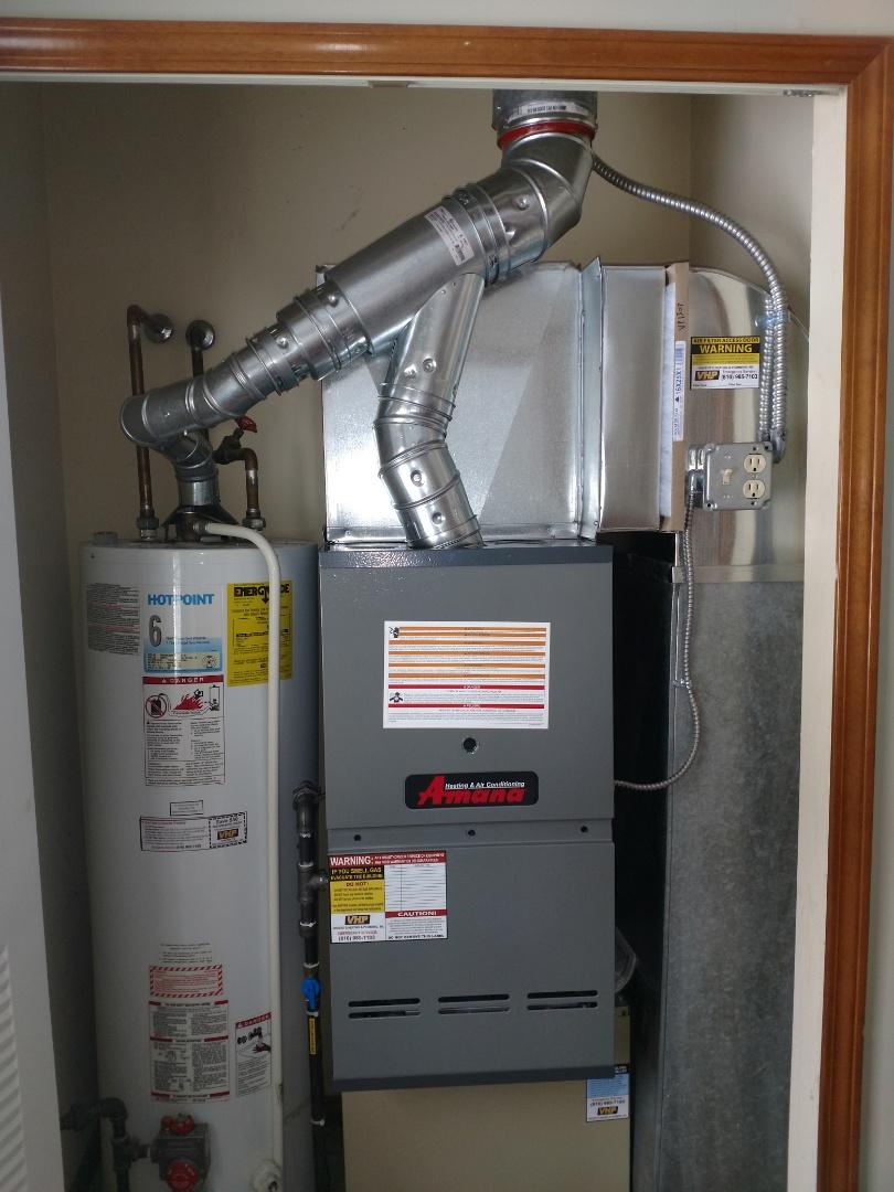 Fort Gratiot Township, MI - Install new furnace 80%80000btu Amana