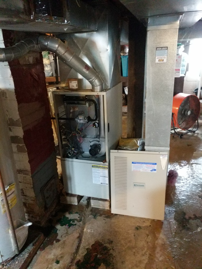 East China, MI - Furnace repair during COVID-19 outbreak.