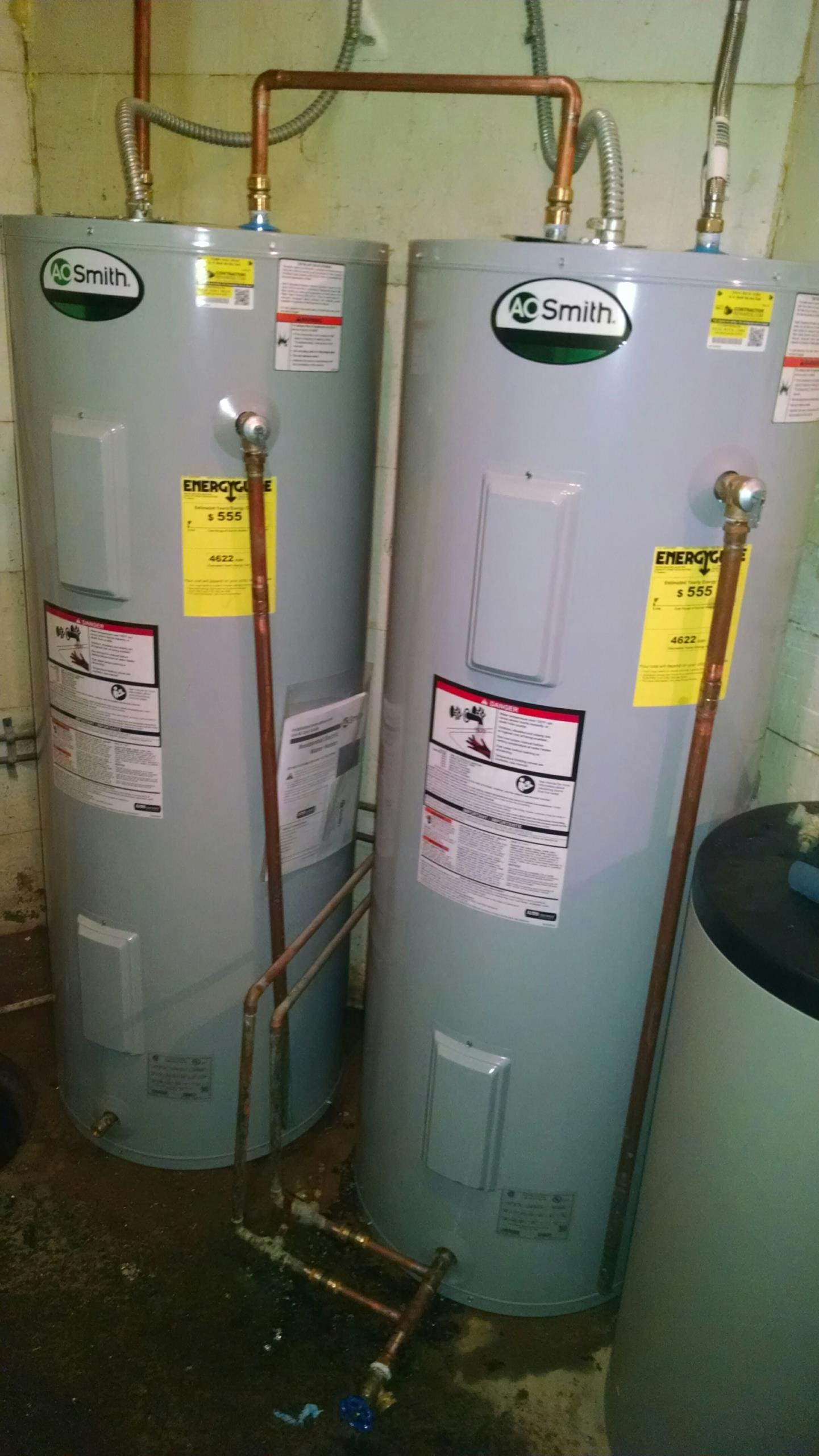 Memphis, MI - Repair of two electric water heaters. A.O. Smith.