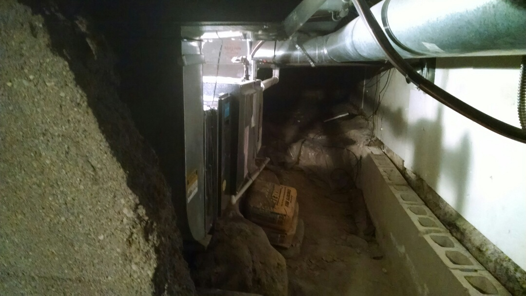 Croswell, MI - Installation of Amana furnace in crawl space