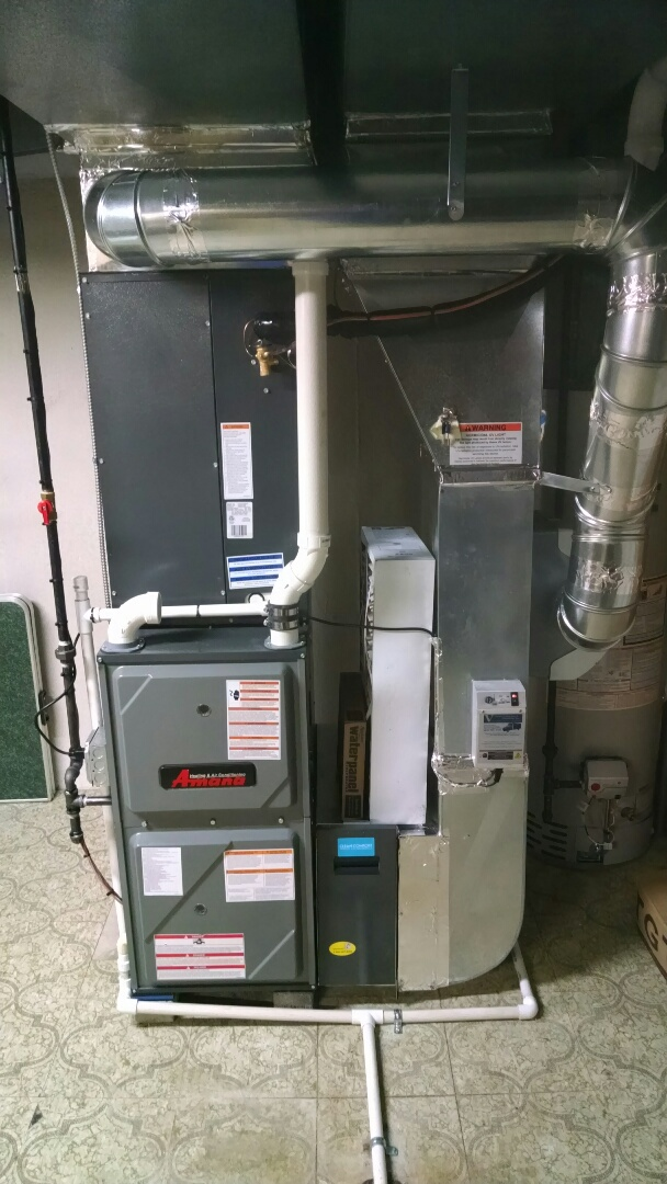 New Haven, MI - Installation of Amana furnace, air conditioning and air filter. Along with an aprilaire humidifier and uv light.