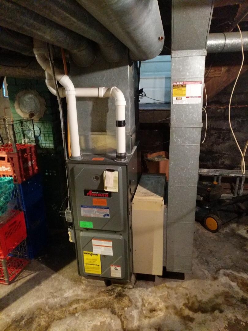 Marysville, MI - Amana furnace check with gas analyzer.
