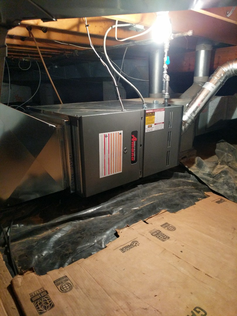 Port Huron, MI - Final review of new Amana furnace in crawlspace.