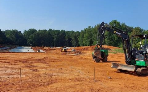 Canton, GA - Beautiful day here in Cumming Hwy Storage. We are starting the underground for building 1000. What we are working on is an industrial electrician service.