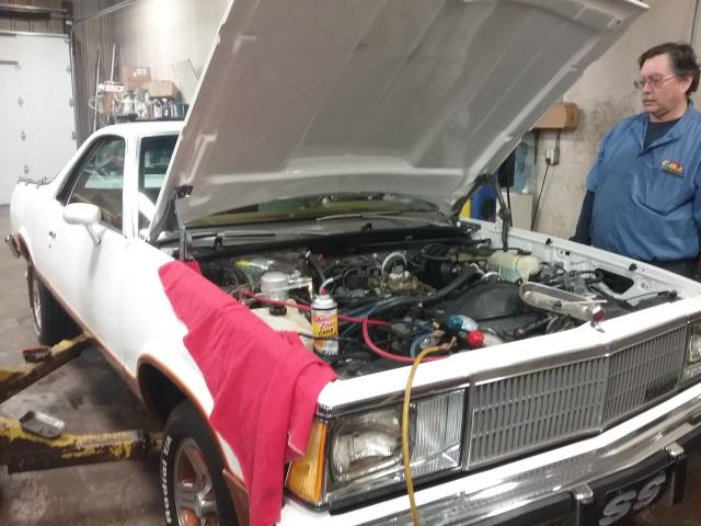 Sycamore, IL - 1980 Chevy El Camino-  replace valve cover gaskets, replace shocks, replace front brake pads & rotors, replace choke thermostat, replace exterior bulbs, replace blower mother & relay, retro fit A/C system, replace speedometer drive seal on transmission, install flywheel cover, replace belts