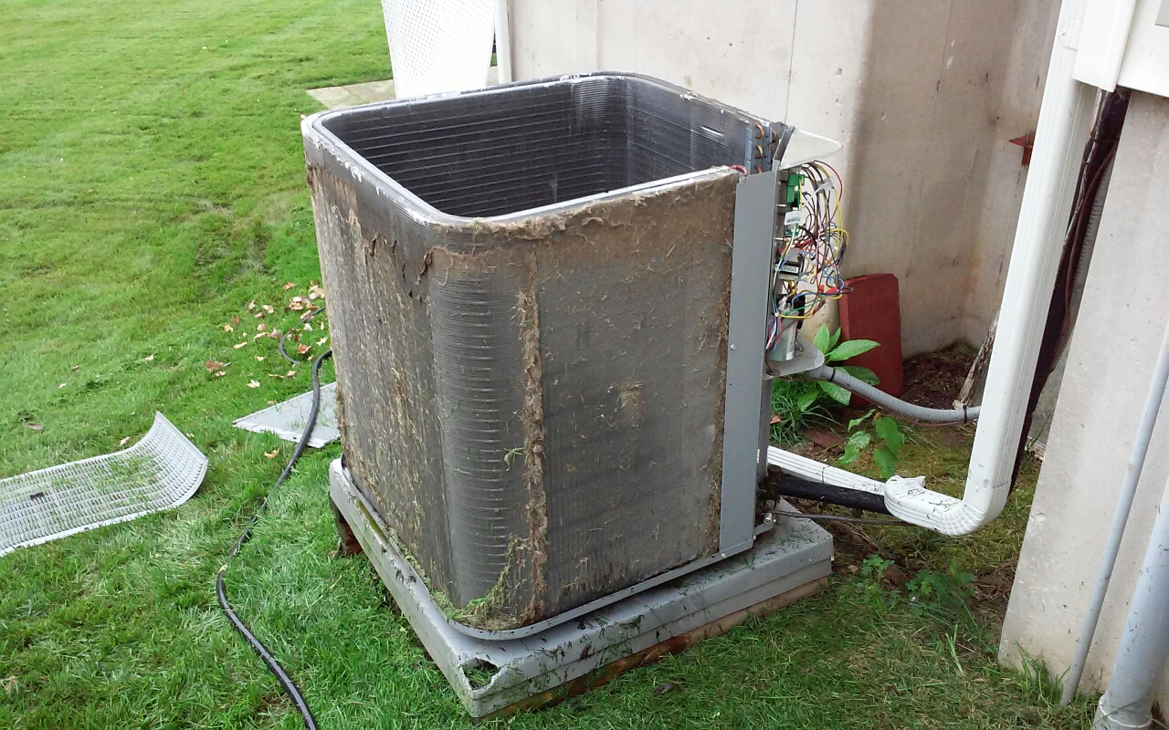 Saint Charles, MO - Ac maintenance at clients house, picture is of ac at tear apart before cleaning