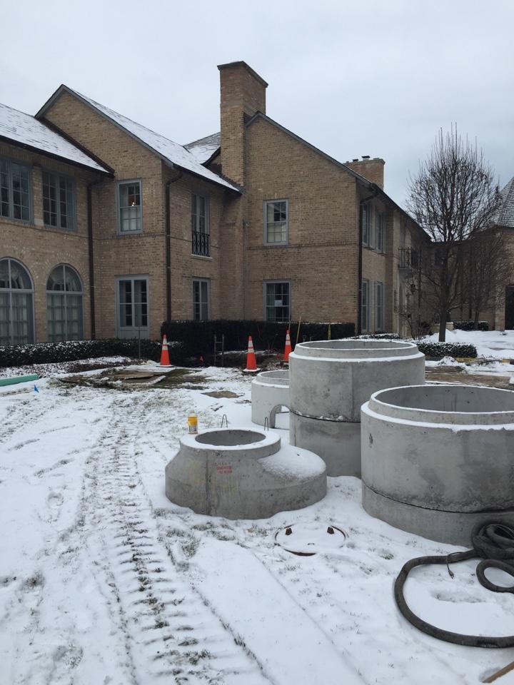 """Winnetka, IL - Installing 12"""" deep flood control"""