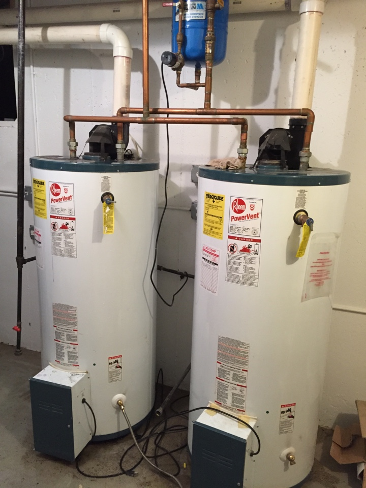 Glenview, IL - Installing two power vent 75 gallon water heaters.