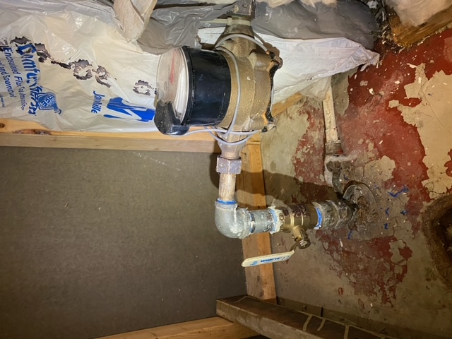 New emergency water main shutoff valve replacement at water meter in basement