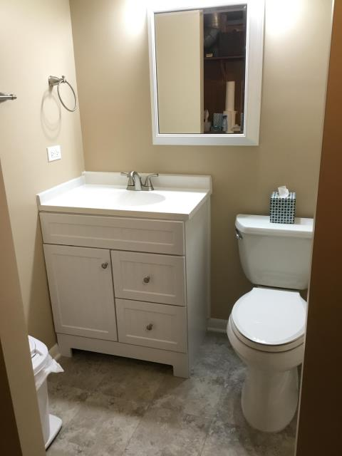 Northbrook, IL - New basement bathroom installation in Northbrook, IL.