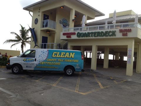 Hollywood, FL - Cleaned all the tile and the cement floors at the Dania Beach quarterdeck this morning, really came out good