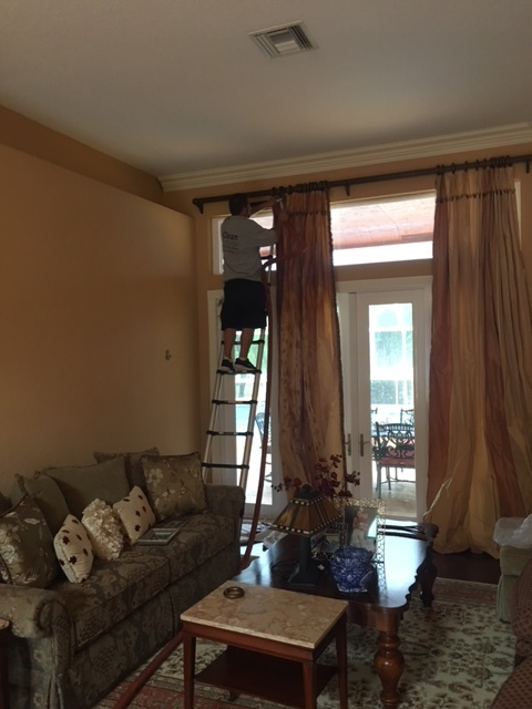 Parkland, FL - Drapery cleaning in Parkland. Ceiling to floor drapes.