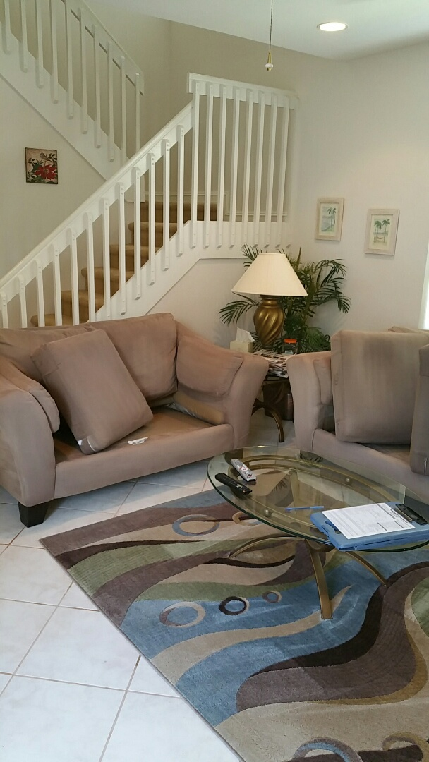 Hollywood, FL - We cleaned a microfiber sofa and love seat, and two rooms and stairs with carpeting