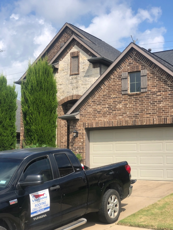 Sugar Land, TX - This less than 10 year old roof had a cracked square vent. We replaced it with a new one and used matching shingles. All roof top components like pipe flashings, flue pipes, vents etc are caulked and ready for this hurricane season. Another happy customer. Thank you for choosing us.